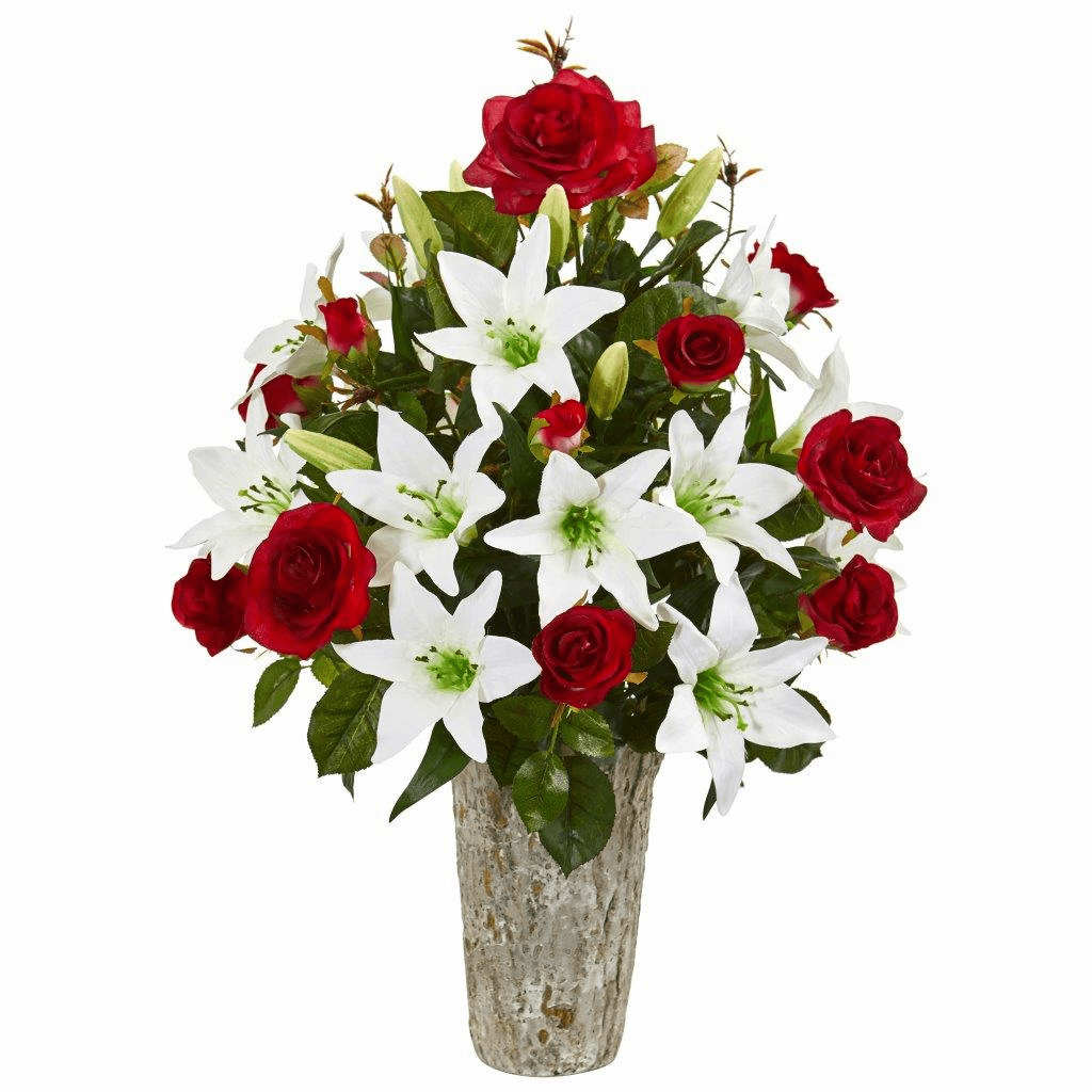 "23"" Red Rose & Lily Artificial Arrangement in Weathered Vase"