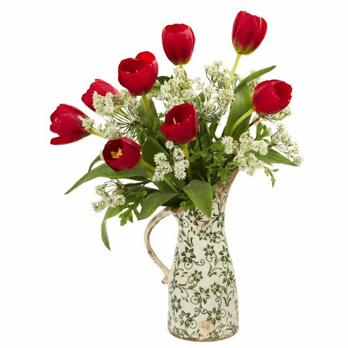 "19"" Red Tulips and Italian Chrysanthemum Artificial Arrangement in Pitcher Vase"