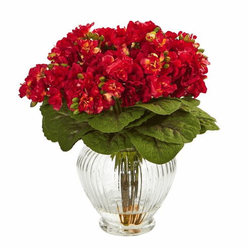 Red Violet Artificial Arrangement in Glass Vase