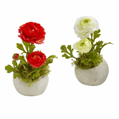 "8"" Red White Ranunculus Artificial Arrangement (Set of 2)"