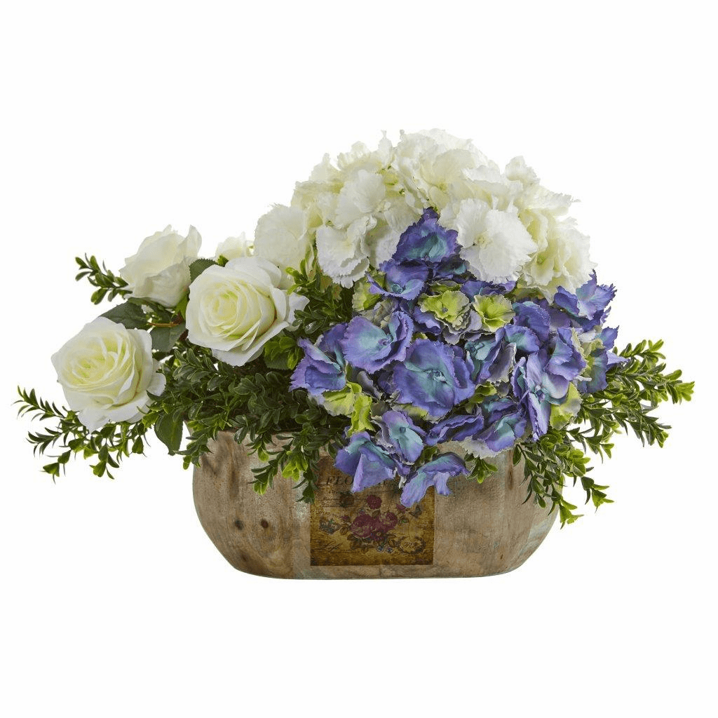 "14"" Rose and Hydrangea Artificial Arrangement"