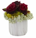 Rose and Hydrangea Artificial Arrangement in Marble Finished Vase - Beauty