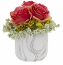 Rose and Hydrangea Artificial Arrangement in Marble Finished Vase - Dark Pink