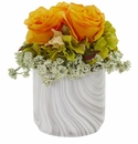 Rose and Hydrangea Artificial Arrangement in Marble Finished Vase - Orange Yellow