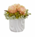 Rose and Hydrangea Artificial Arrangement in Marble Finished Vase - Peach