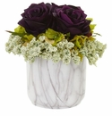 Rose and Hydrangea Artificial Arrangement in Marble Finished Vase - Purple Elegance