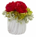 Rose and Hydrangea Artificial Arrangement in Marble Finished Vase - Red