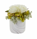 Rose and Hydrangea Artificial Arrangement in Marble Finished Vase - White