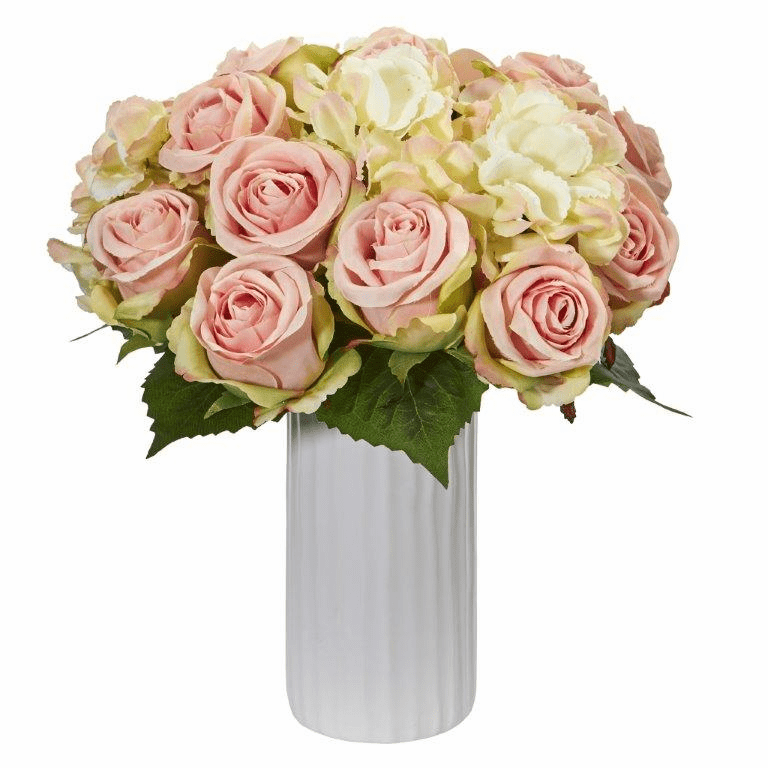 "13"" Rose and Hydrangea Artificial Arrangement in White Vase"