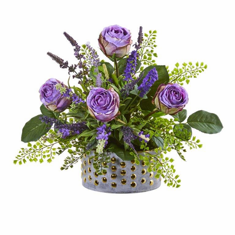 "14"" Rose and Lavender Artificial Arrangement in Designer Vase"