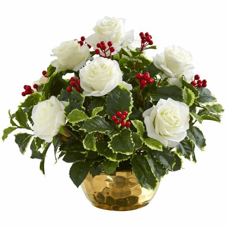 """15"""" Rose and Variegated Holly Leaf Artificial Arrangement in Gold Bowl -"""
