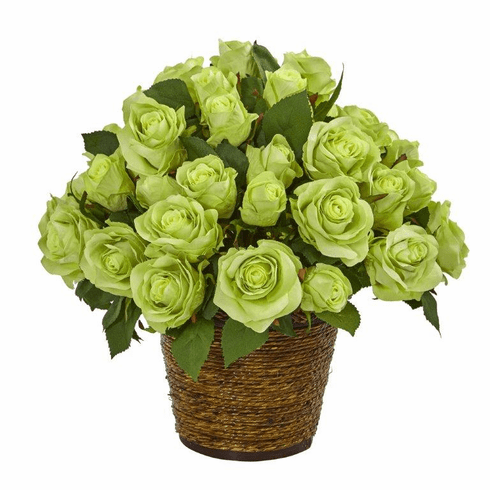 "14"" Rose Artificial Arrangement in Basket - Green"