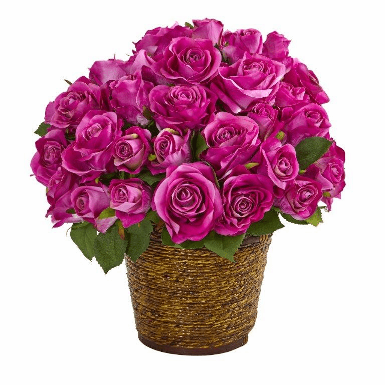 "14"" Rose Artificial Arrangement in Basket - Purple"