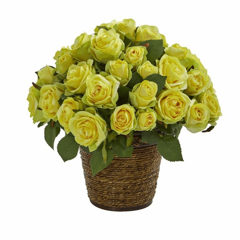 "14"" Rose Artificial Arrangement in Basket - Yellow"