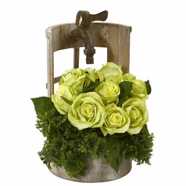 "12"" Rose Artificial Arrangement in Faucet Planter - Green"