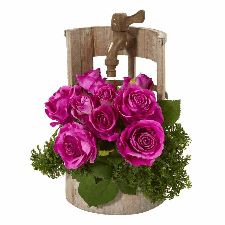 "12"" Rose Artificial Arrangement in Faucet Planter - Purple"