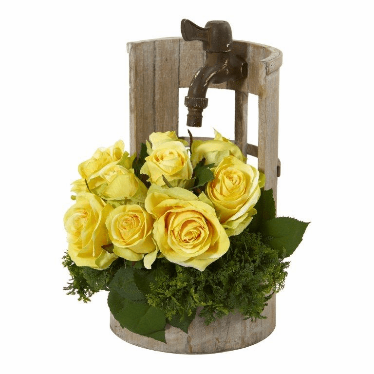 "12"" Rose Artificial Arrangement in Faucet Planter - Yellow"