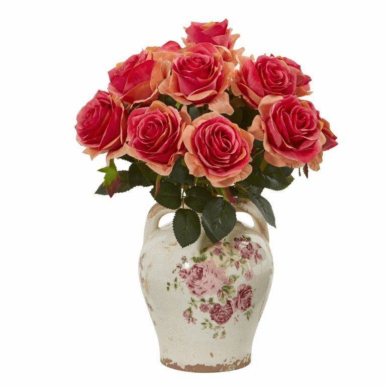 "16"" Rose Artificial Arrangement in Flower Print Jar - Dark Pink"