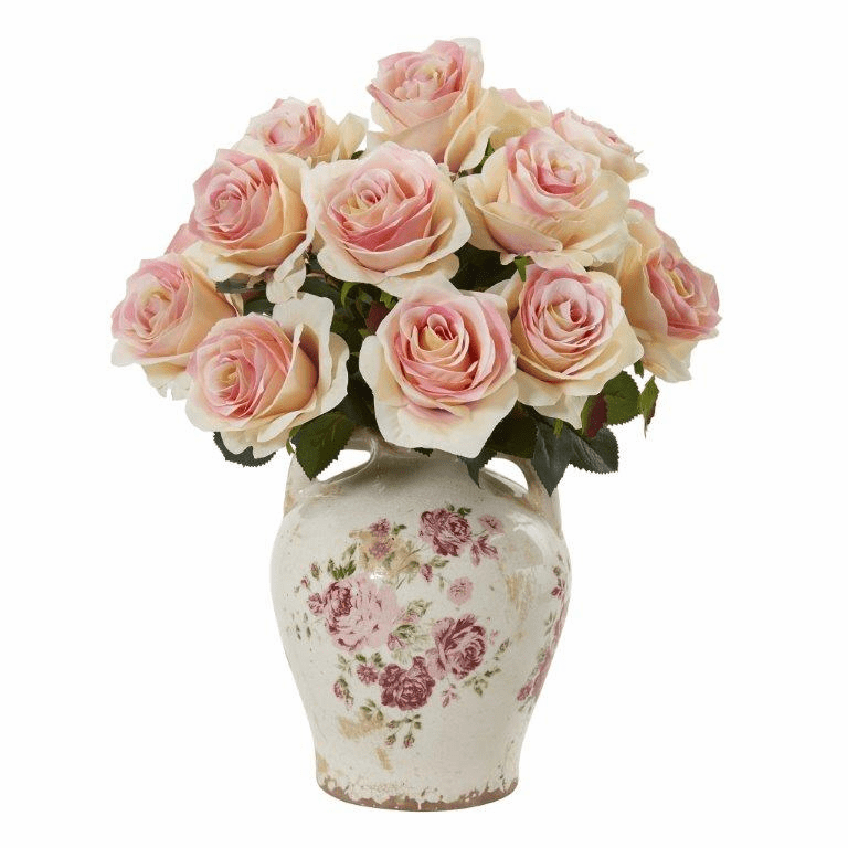 "16"" Rose Artificial Arrangement in Flower Print Jar - Light Pink"