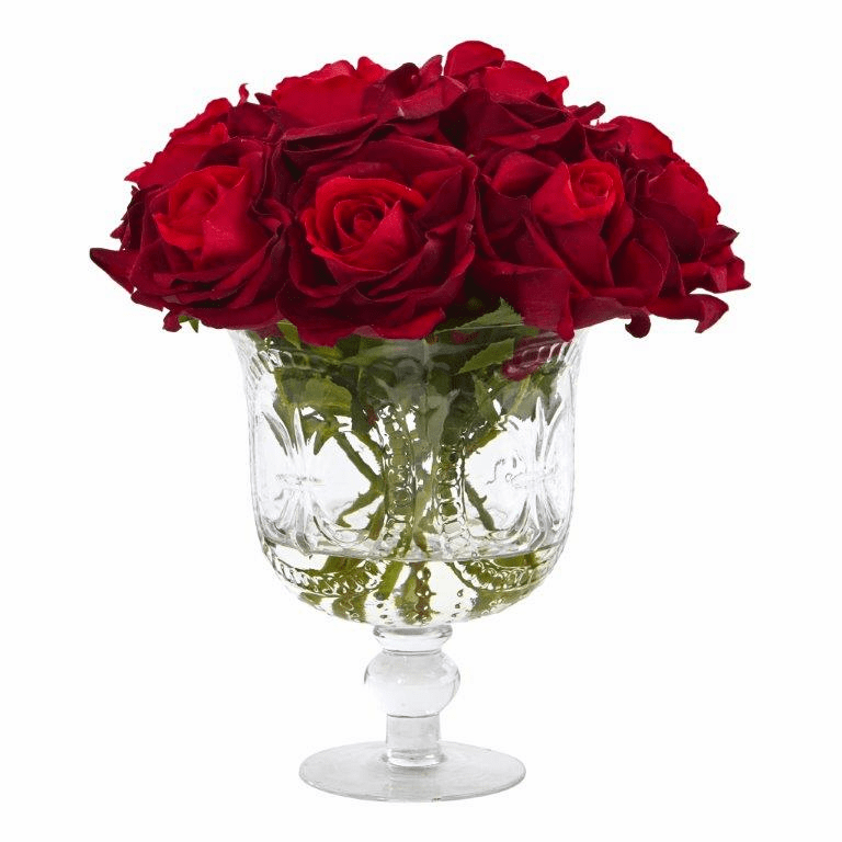 "12"" Rose Artificial Arrangement in Glass Urn"