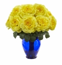 Rose Artificial Arrangement in Rose Colored Vase - Yellow