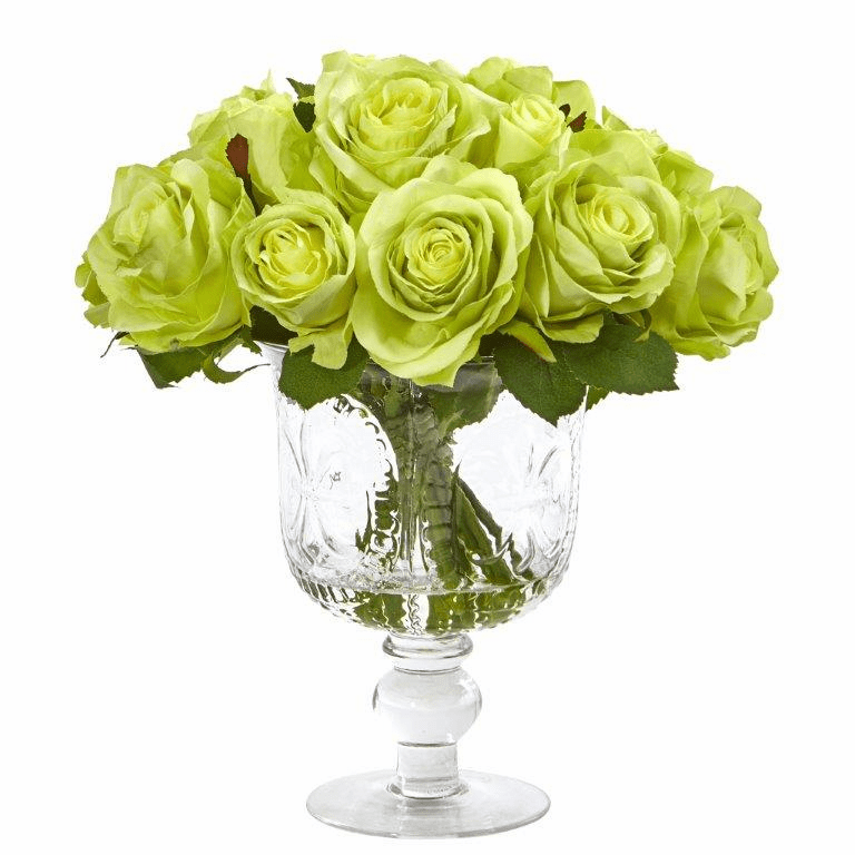 "11"" Rose Artificial Arrangement in Royal Glass Urn - Green"