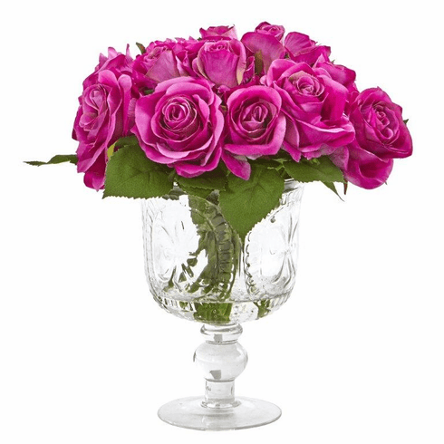 "11"" Rose Artificial Arrangement in Royal Glass Urn - Purple"
