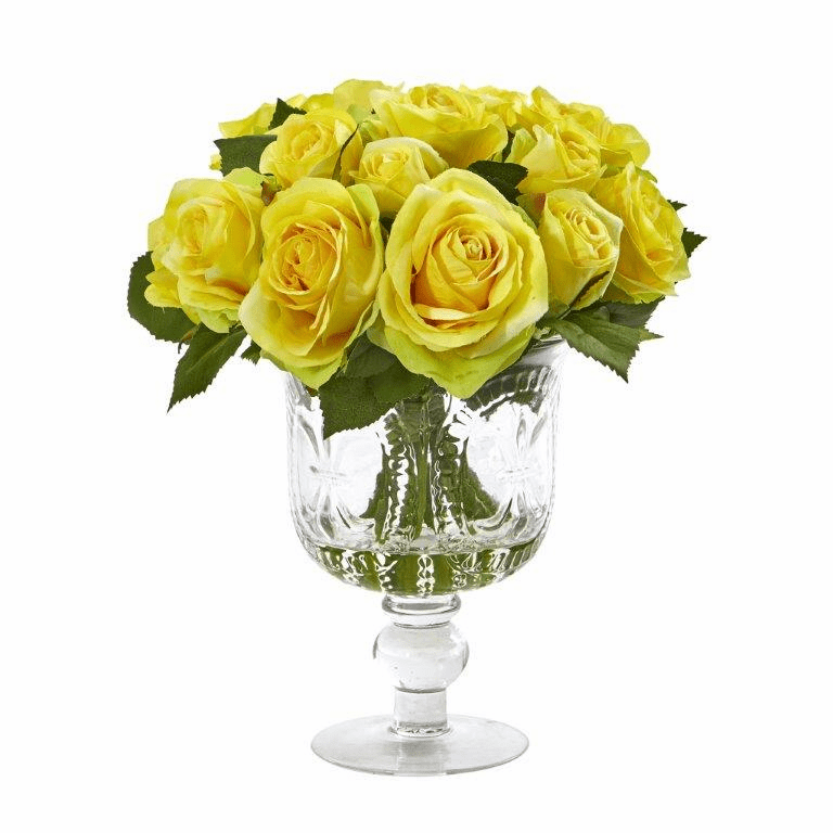 "11"" Rose Artificial Arrangement in Royal Glass Urn - Yellow"