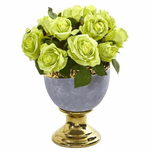 "14"" Rose Artificial Arrangement in Urn with Gold Trimming - Green"