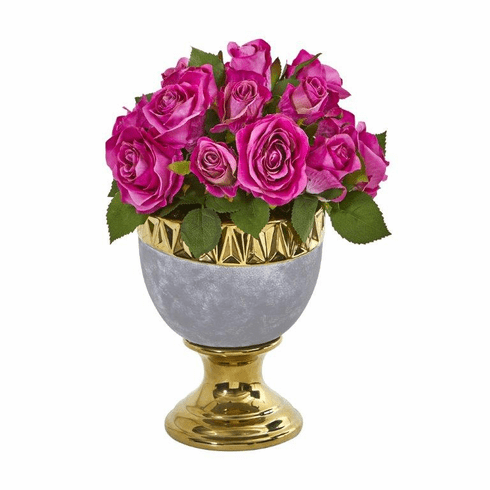"""14"""" Rose Artificial Arrangement in Urn with Gold Trimming - Purple"""