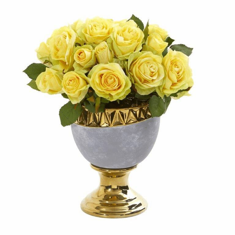 "14"" Rose Artificial Arrangement in Urn with Gold Trimming - Yellow"