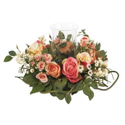 "8.5""  Rose Candelabrum Silk Flower Arrangement Centerpiece"