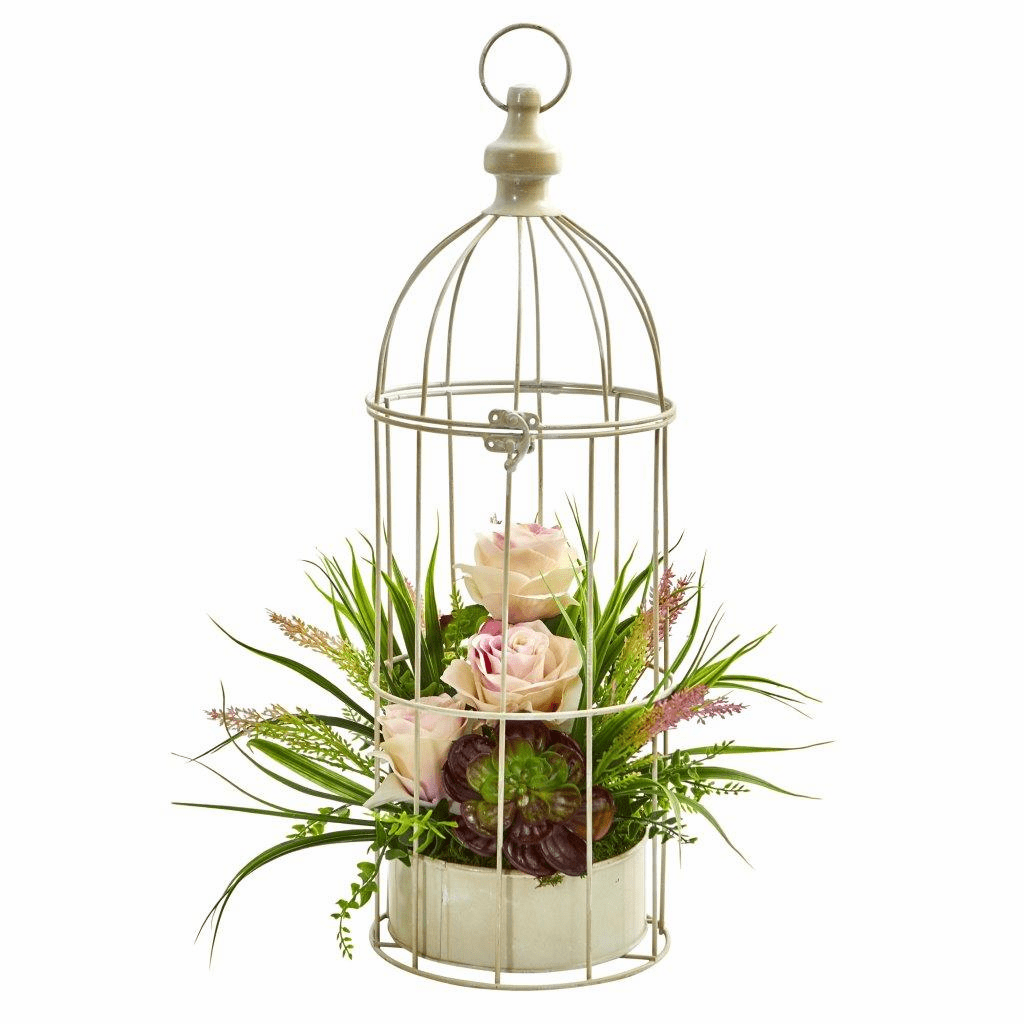 "19"" Rose, Grass & Succulent Artificial Arrangement in Bird Cage"