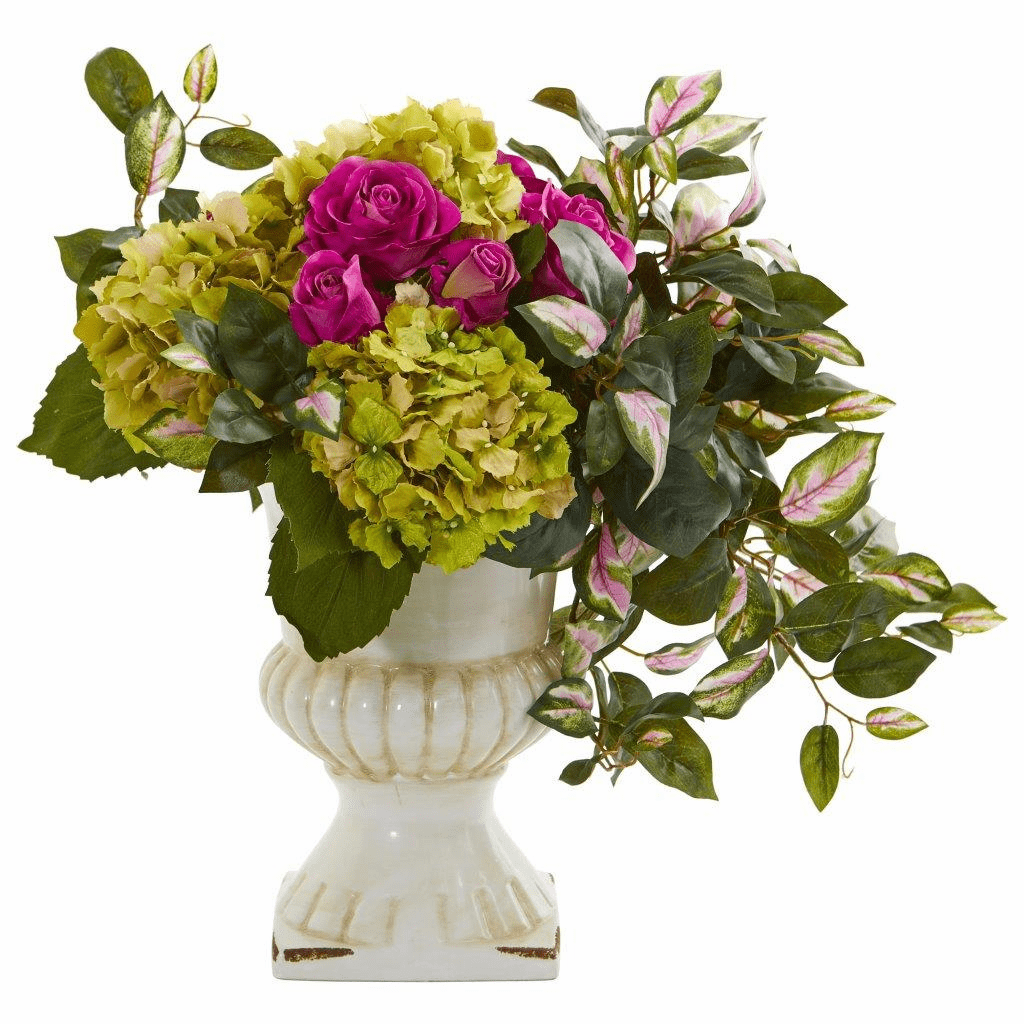 "18"" Rose, Hydrangea and Hoya Artificial Arrangement in Ceramic Urn"