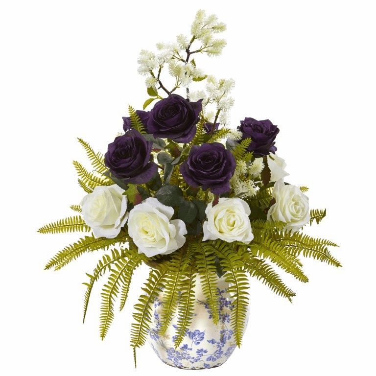 "22"" Rose, Thistle and Grass Artificial Arrangement in Vase"