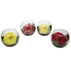 """4.75"""" Silk Rose Assortment With Bubble Vase Set of 4"""