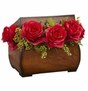 Roses Artificial Arrangement in Decorative Chest - Red