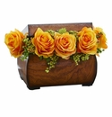 Roses Artificial Arrangement in Decorative Chest - Yellow
