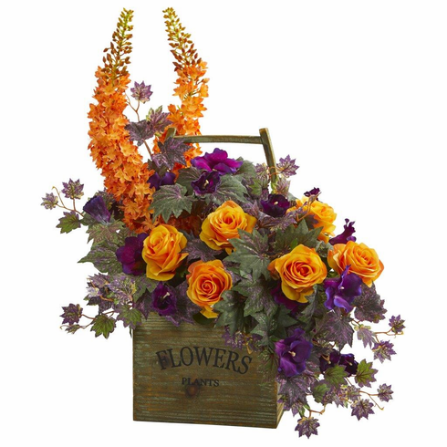 """27"""" Roses, Fox Tail and Morning Glory Artificial Arrangement"""