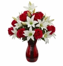 Roses & Lilies Artificial Arrangement in Red Vase - N/A