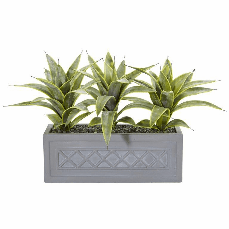 "20"" Sanseveria Artificial Plant in Stone Planter"
