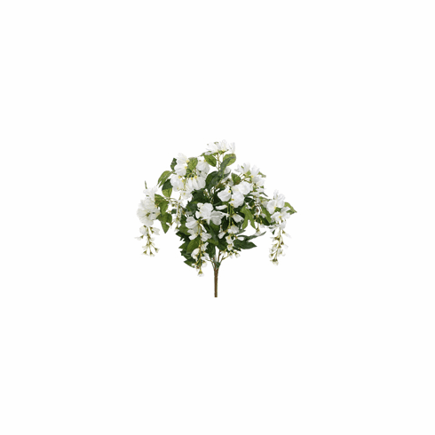 """Set of 12 - 22"""" Artificial Silk Wisteria Flower Bushes x 8 Flower shoots (shown in white)"""