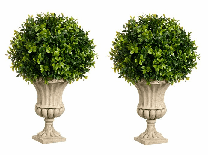 "Set of 2 - 16"" Artificial Boxwood Topiaries in Urns"
