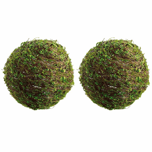 "Set of 2 - 16"" Small Twig Artificial Ball With Mini Leaves"