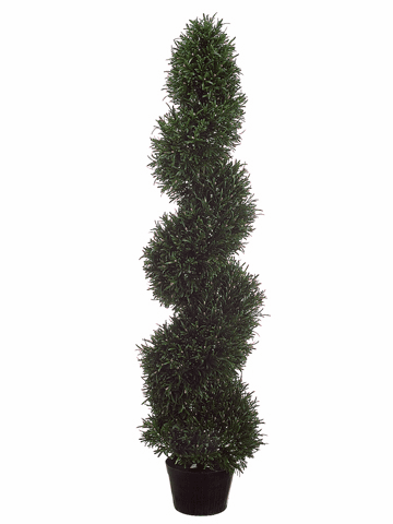 Set of 2 - 4' Artificial Rosemary Spiral Topiaries Indoor / Outdoor