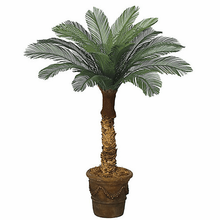 Set of 2 - 4' Outdoor Artificial Cycas Palm Trees - Non Potted 18 Fronds