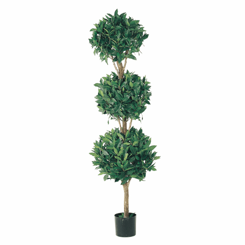 Set of 2 - 5' Artificial Triple Ball Sweet Bay Topiary in Pot