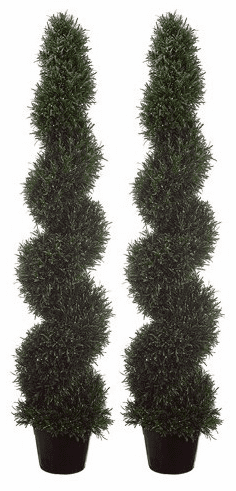 Set of 2 - 5' Rosemary Spiral Artificial Topiary Plants