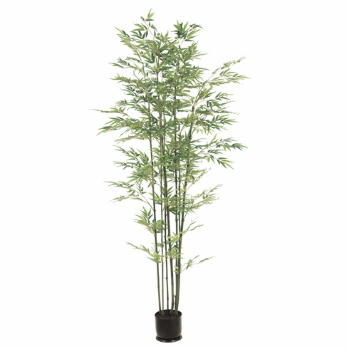 Set of 2 - 7' Silk Bamboo Trees x 7 Natural Trunks with 1980 Leaves in Pots