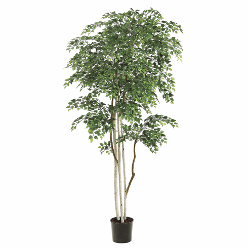 Set of 2 - 8 ft Silk Sherman Birch Trees - 3,480 Leaves and Hand Painted White Trunks - Potted